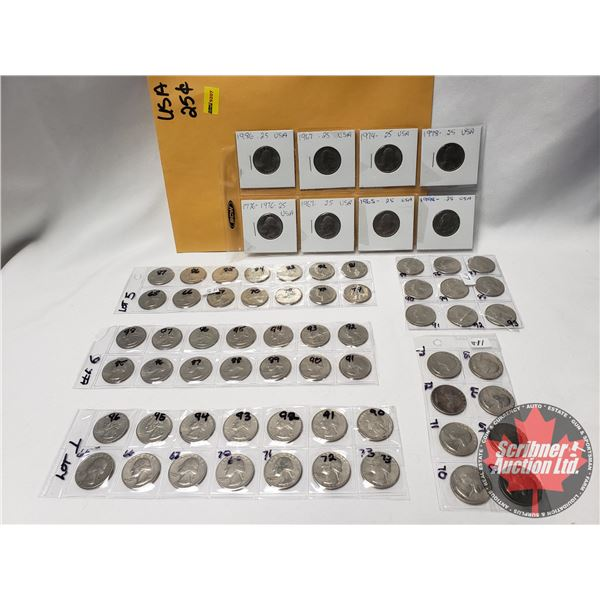 USA Twenty Five Cent Collection (1960's, 1970's, 1980's, 1990's) (67 Coins) See Pics)