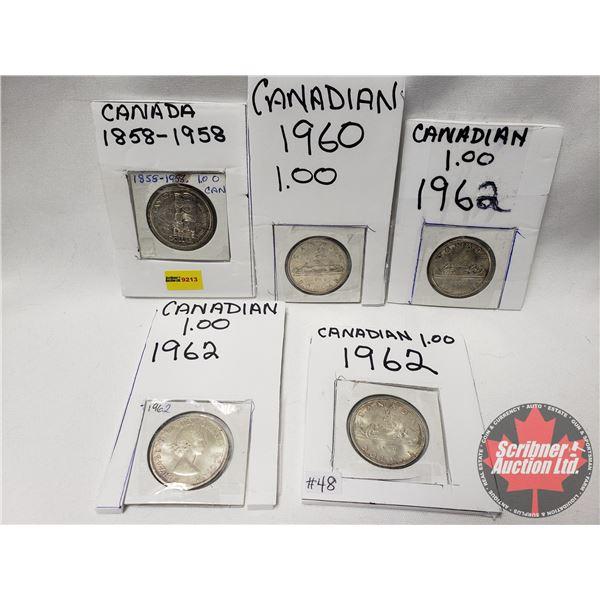 Canada Silver Dollars (5): 1958; 1960; 1962; 1962; 1962