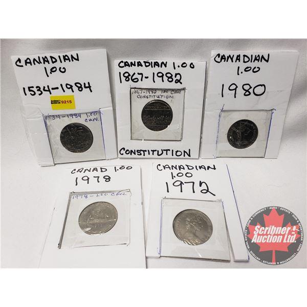 Canada One Dollar (5): 1972; 1978; 1980; 1982; 1984
