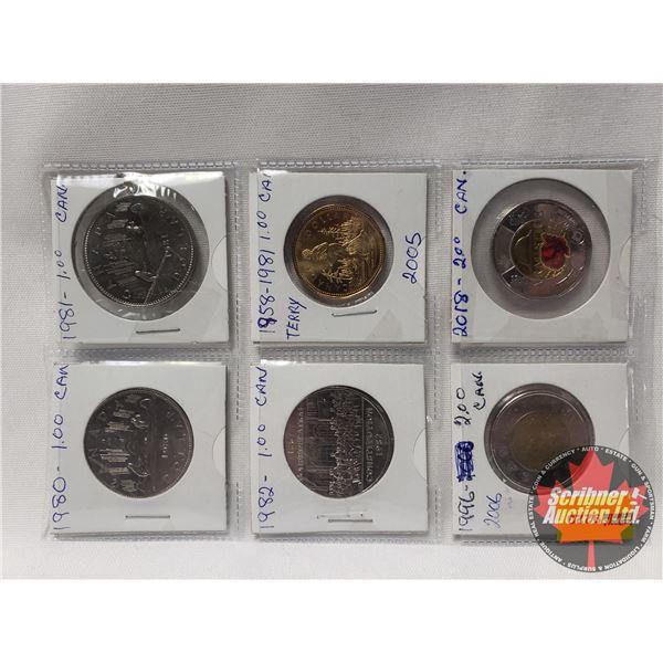 Canada Coins (8) : 1980 One Dollar; 1981 One Dollar; 1982 One Dollar; 1981 Loonie; 1996 Toonie; 2018