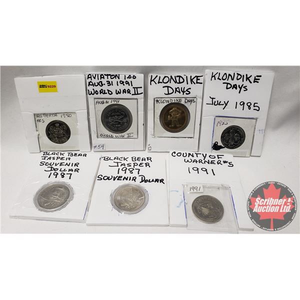 Variety Tokens (7): Alberta 1980 ; 1991 Aviation World War II ; Klondike Days 50 Cent Casino ; Klond
