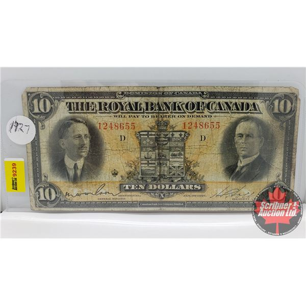 The Royal Bank of Canada $10 Bill 1927 : Wilson/Holt #1248655