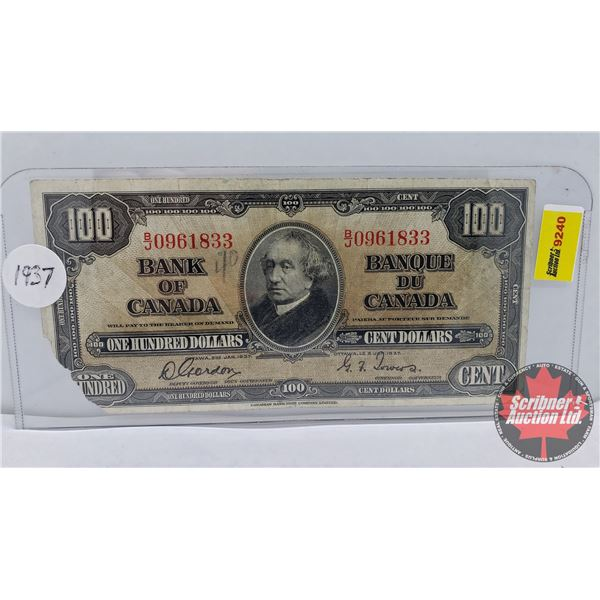 Bank of Canada $100 Bill 1937 : Gordon/Towers #BJ0961833