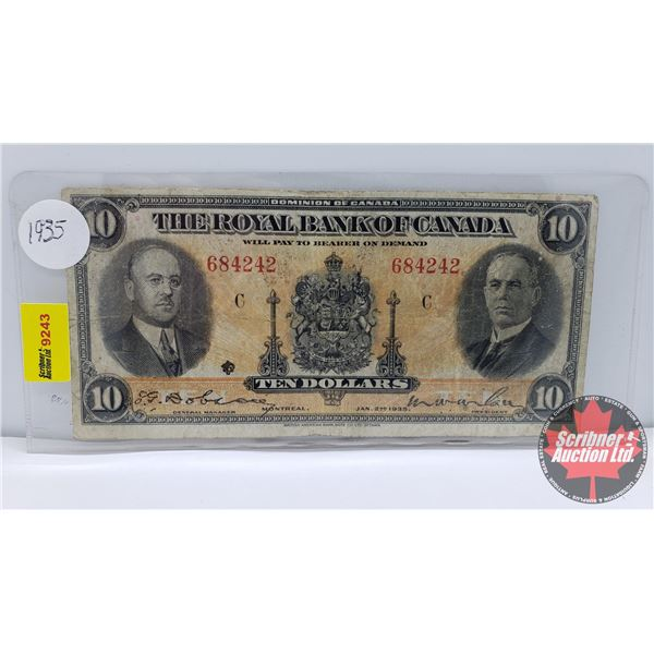 The Royal Bank of Canada $10 Bill 1935 Dobson/Wilson #684242