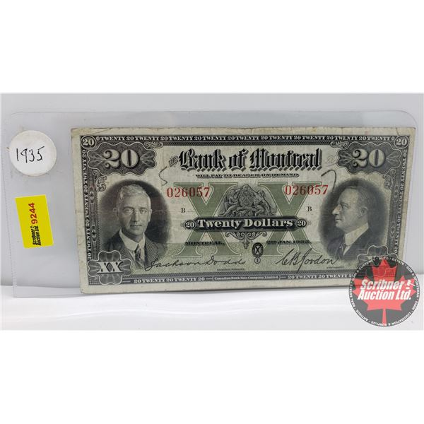 Bank of Montreal $20 Bill 1935 Dodds/Gordon #026057