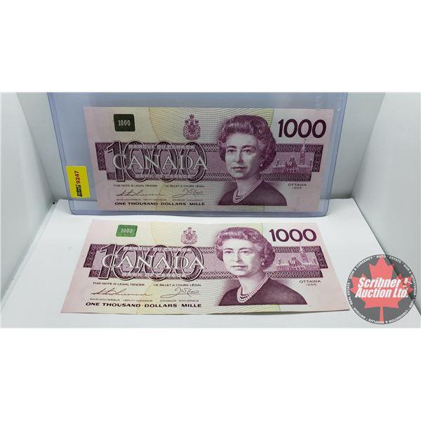 Canada $1000 Bills 1988 (2 Consecutive) : Thiessen/Crow #EKA1807726/27