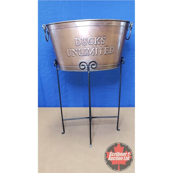 """Ducks Unlimited Copper Tub with Wrought Iron Stand (36""""H x 24""""W x 14-1/2""""D)"""