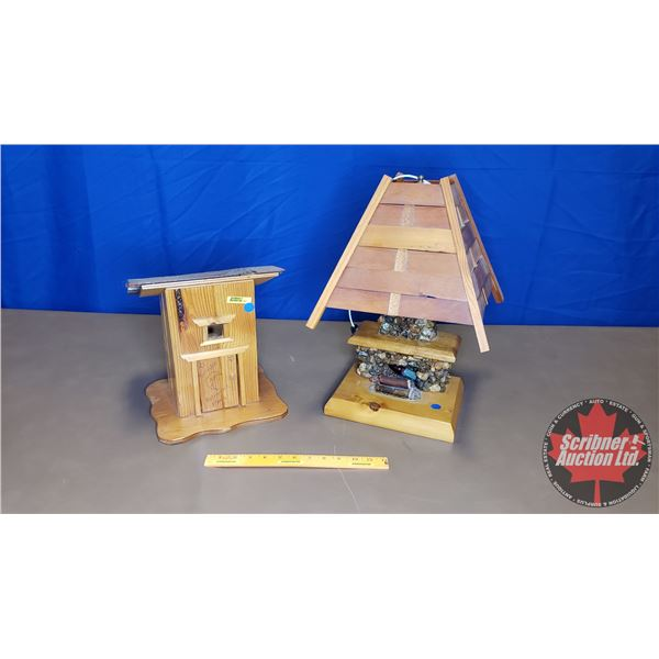 Wooden Décor Pieces (2): Fireplace Lamp & Novelty Outhouse