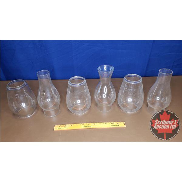Box Lot: Variety of Lantern Globes & Chimney's
