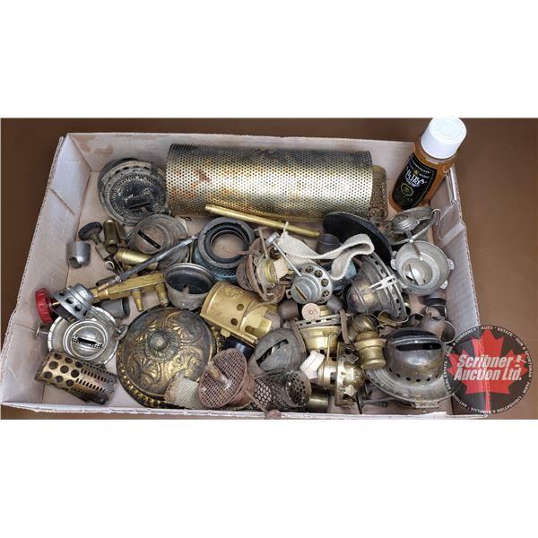 Tray Lot: Variety of Lamp Parts