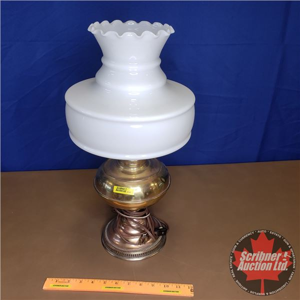 """Coal Oil Lamp w/Milk Glass Shade (Converted to Electric) (20""""H)"""