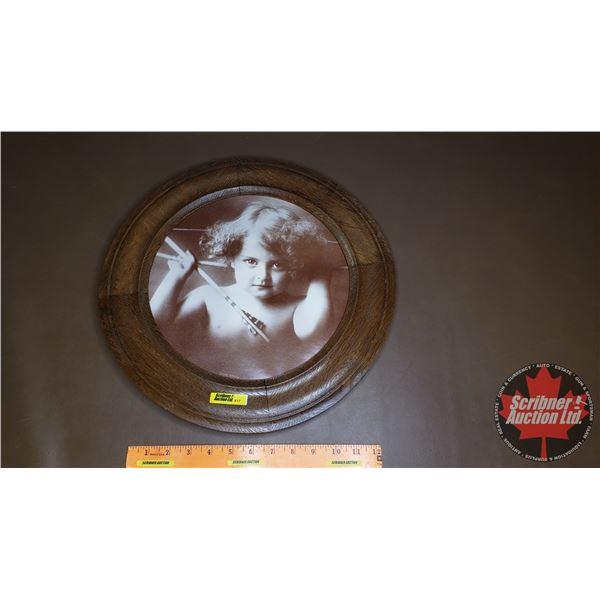 "Round Picture Frame w/Print ""Cupid Awake"" (15.5"" Dia)"