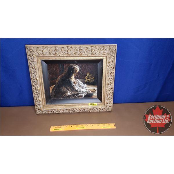 """Framed Oil Painting """"Girl Bathing"""" (8"""" x 10"""") Artist: Ron Zdriluk (Frame Size: 13-3/4"""" x 16"""")"""