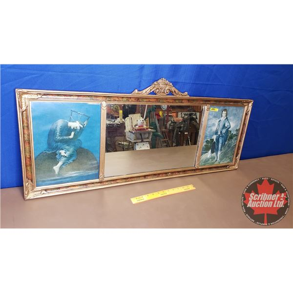 """Framed Mirror & Pictures : Blue Boy / Hope (17""""H x 39-1/2""""W)"""