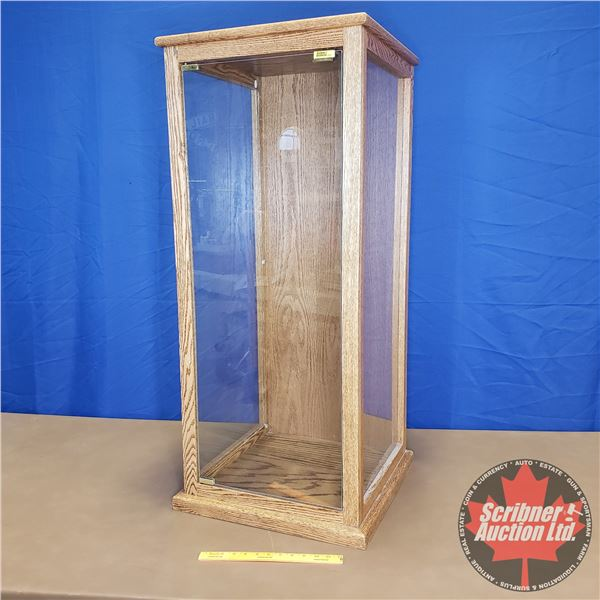 "Wood / Glass Tall Display Case (3 Side View) (44""H x 19""W x 19""D)"