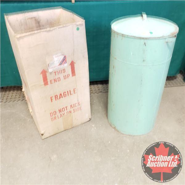 "Flour Bin with Original Shipping Box from T. Eaton Co. (28""H x 14"" Dia)"