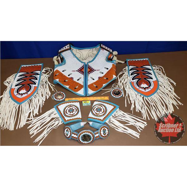 Native Full Beaded Suit (Orange, White & Blue)