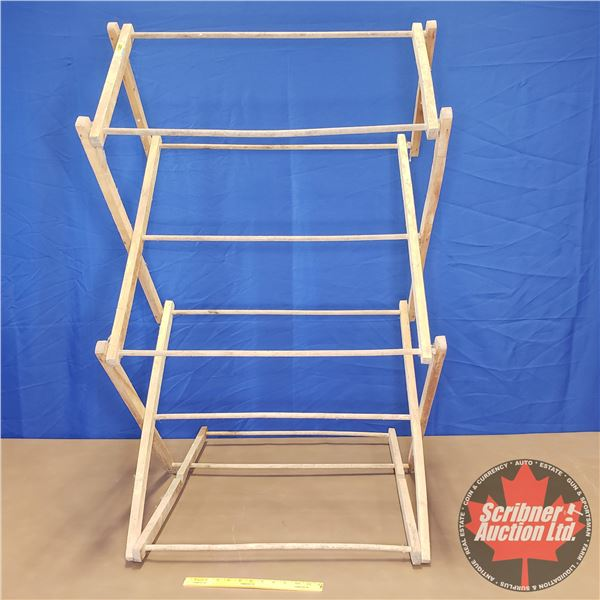 "Clothes Dryer Rack - Wooden - Collapsible (49""H x 30""W x 24""D)"