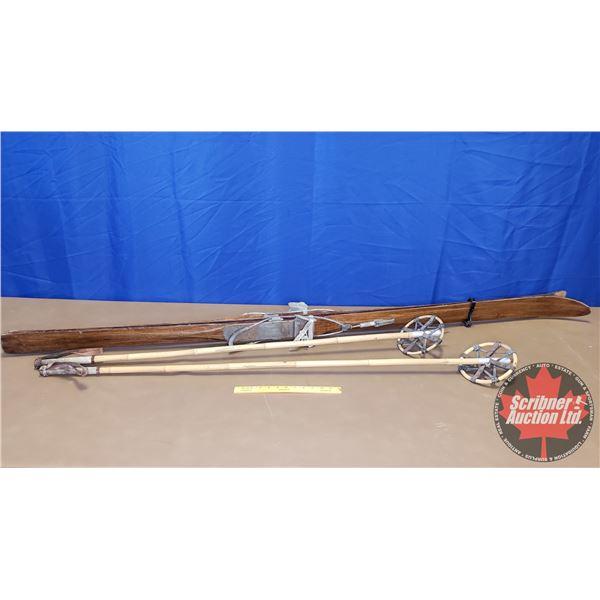 """Antique Chalet Skiis & Poles (80""""H)"""