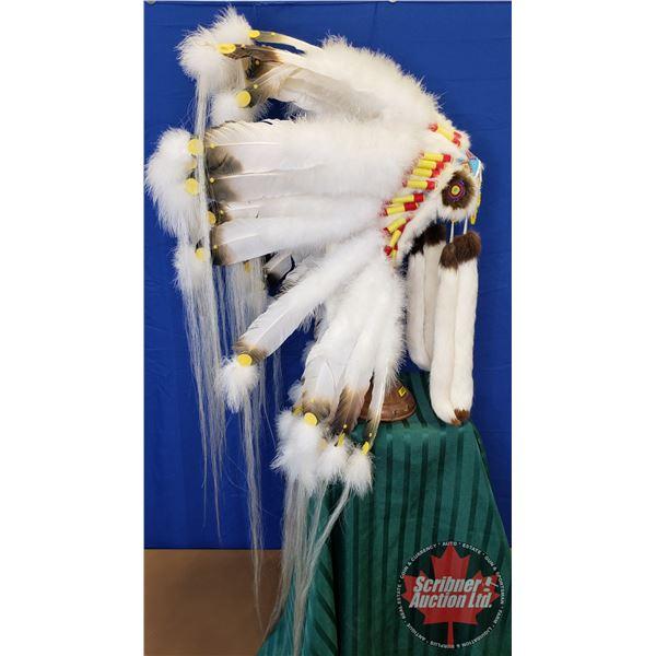 Native Chief Head Dress w/Display Pole