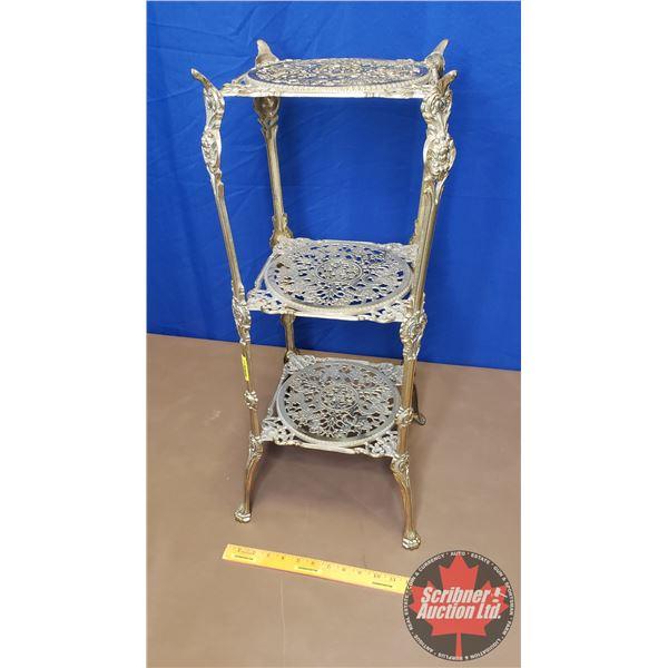 "Brass Three Tier Curio Parlor Shelf/Table (28""H x 12""W x 12""D)"