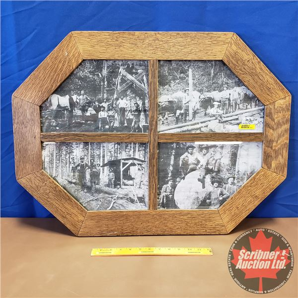 "Framed Picture (Octagon) ""Old Logging Scenes"" (22""H x 29""W)"