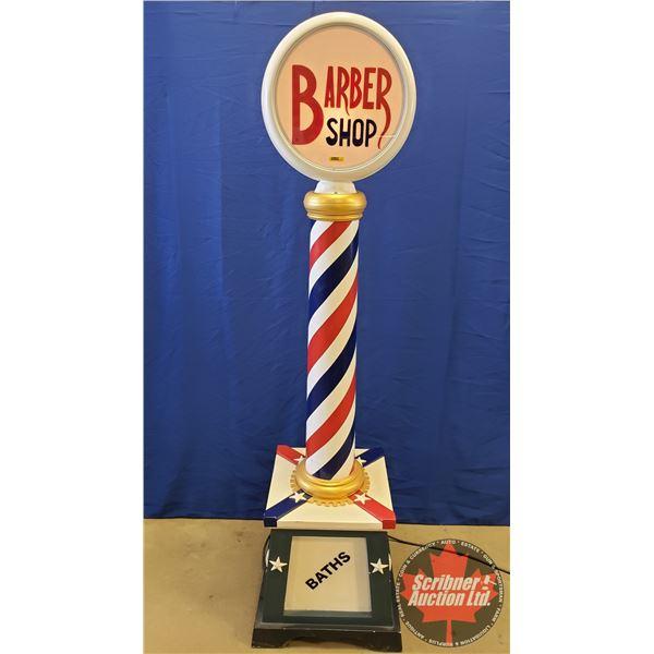 """Barber Shop Light Pole (Wood Construction) (83""""H x 22""""W x 22""""D)"""