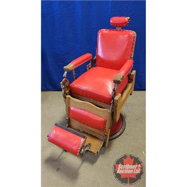 "Barber Chair ""Koken"" (Recovered) Red (Reclines) (45""H)"