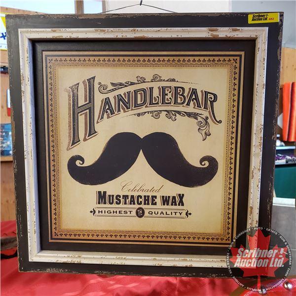 "Novelty Handle Bar Mustache Wax Sign (16""H x 16""W)"
