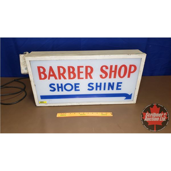 "Light Up Sign : Barber Shop Shoe Shine (Not Working) (12""H x 24""W x 4-1/2""D)"