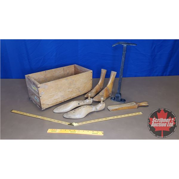 "Wooden Crate w/Contents (Shoe Stretchers, Ruler, Shoe Last) (Crate: 8""H x 18""W x 9""D)"