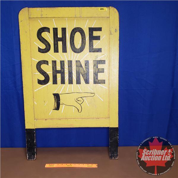 "Shoe Shine Wood Sign (36""H x 22-1/2""W)"
