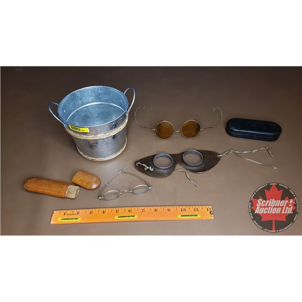 Small Galvanized Bucket w/Goggles, Small Spectacles, Round Amber Glasses)