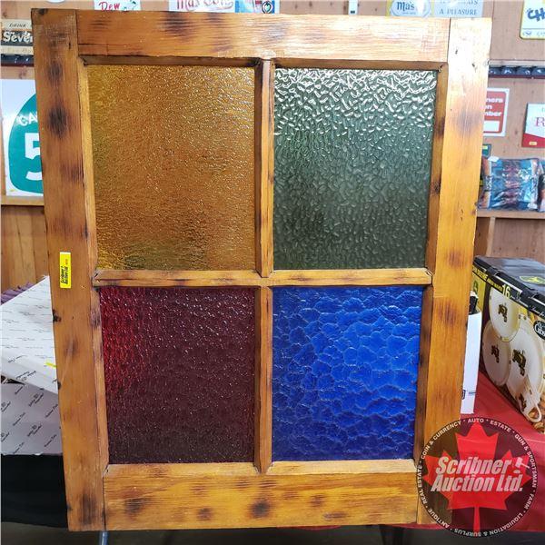 """Decorative Stain Glass Window Sash (26""""H x 21""""W)"""