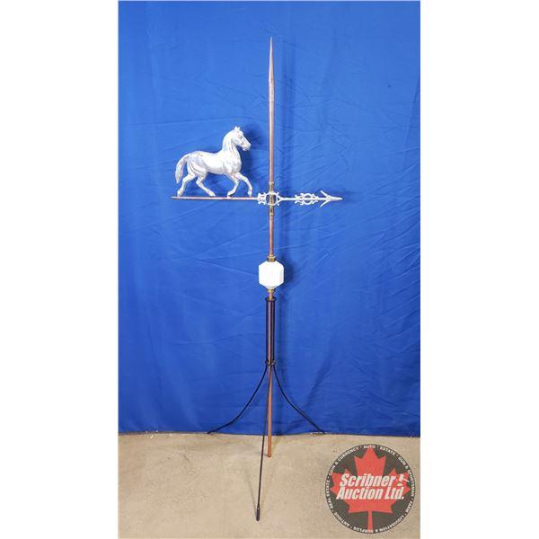 "Lightning Rod w/Horse Weathervane w/White Ball (65""H)"