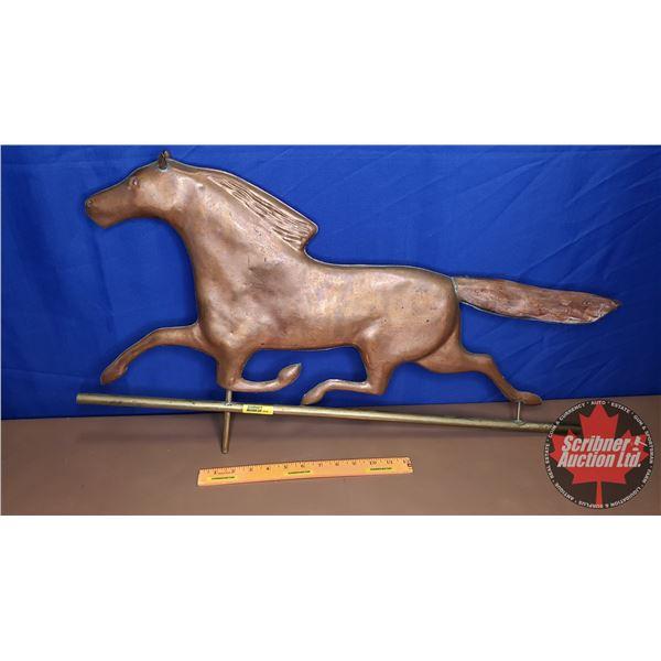 """Copper & Brass Weathervane - Horse Top (17""""H x 30""""W x 1""""D)"""