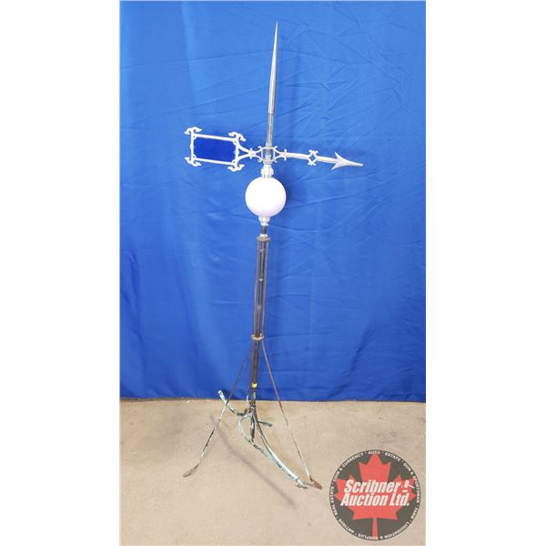 "Lightning Rod w/Stained Glass Weathervane Arrow & Purple Ball (58""H)"