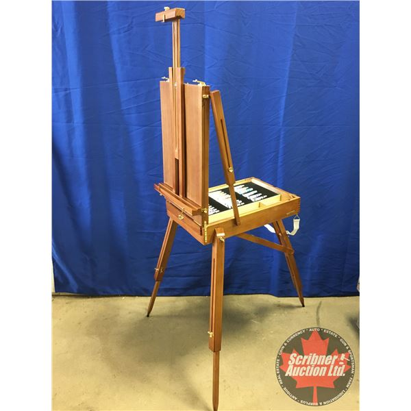 "Painter's Easel with Paints (Measure Fully Extended: 75""H x 32""W x 39""D) (Measure Folded: 24""L x 17-"
