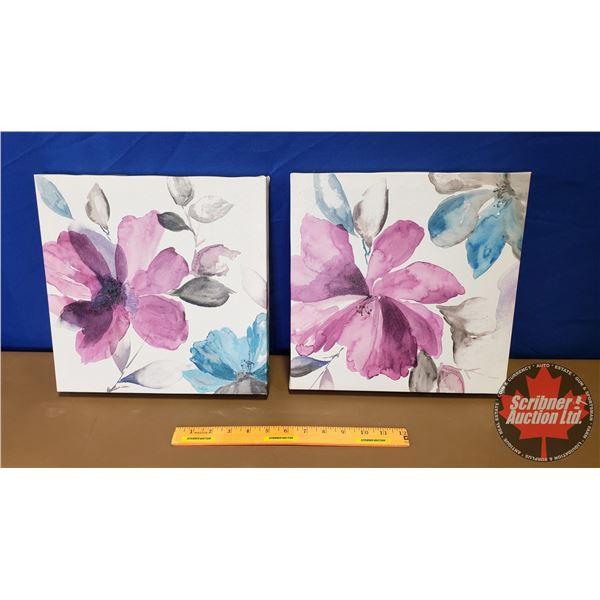 """Canvas Prints (2): Water Color Flowers (12""""H x 12""""W x 1-1/4""""D)"""