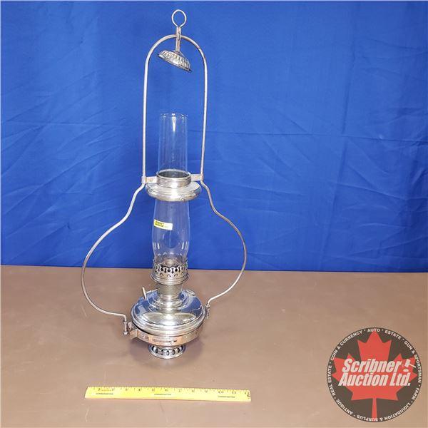 """Hanging Aladdin Lamp Model No 5 Burner Nickle Plated Lamp (26""""H)"""