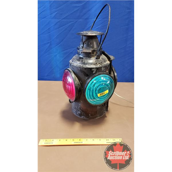 "Train Signal Lantern (Green & Red) Electric ""Piper, Toronto"" ""Patent Applied for 1914"" (Note: One Gr"