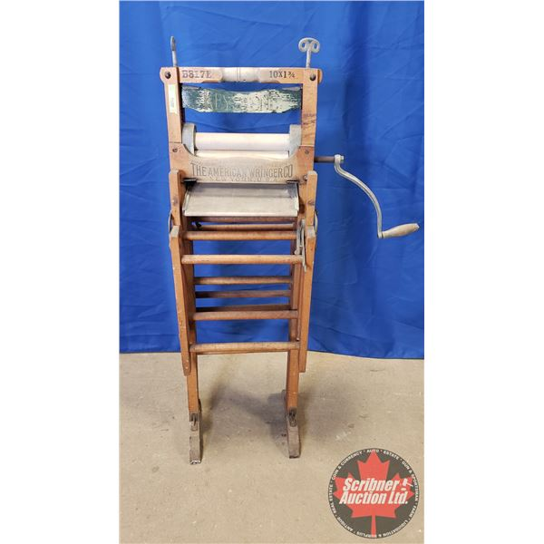 "Wooden Wash Stand with Built in Wringer ""The American Wringer Co / Horse Shoe Brand"" (49""H)"
