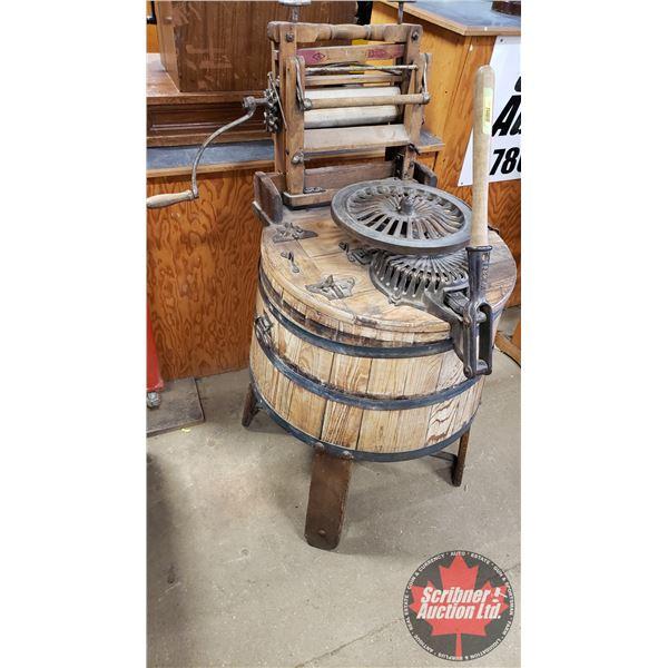 """Wooden Barrel Type Washer & Wringer (47""""H)"""