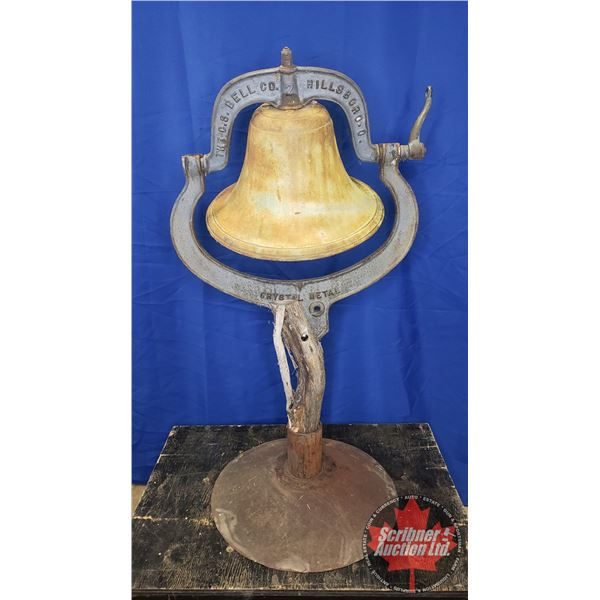 "BELL: The C.S. Bell Co Hillsboro No. 2 Crystal Metal Bell ""No. 2 Yoke 1886"" on Stand (43""H)"