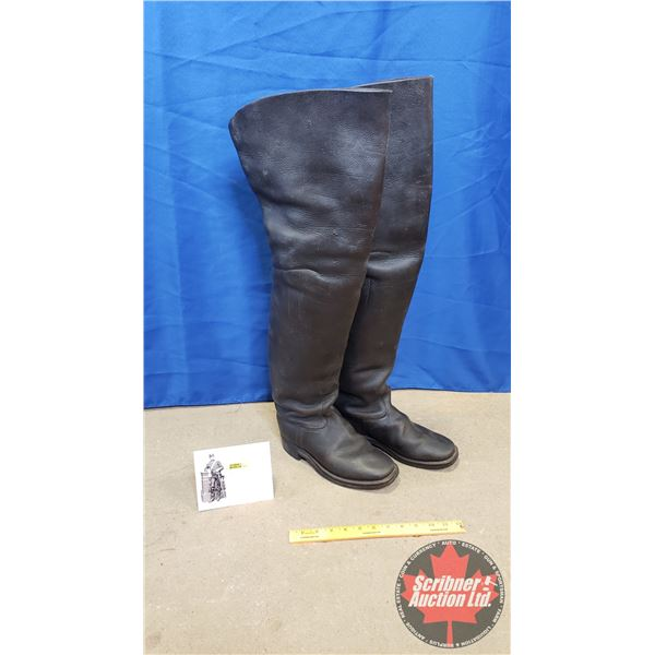 "Civil War Tall Calvary Boots with Intact Pull Straps & Nailed Soles (29""H x 10""D)"