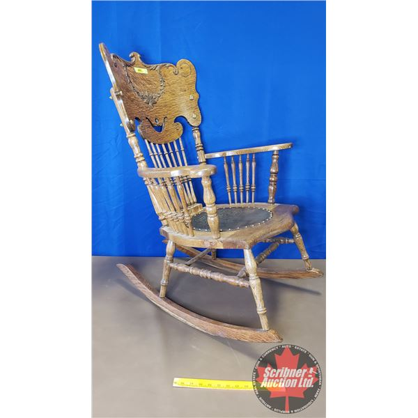 """Oak Spindle Back Rocking Chair w/Engraved Leather Seat (37""""H)"""