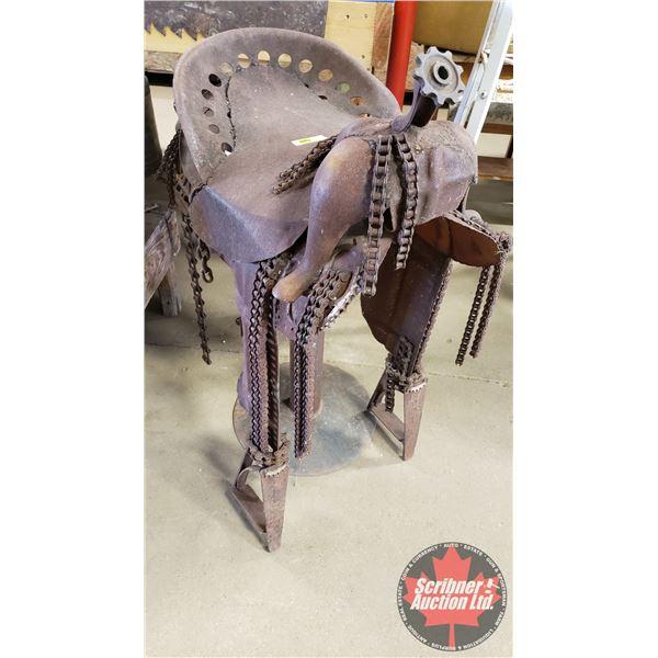 """Metal Art Piece - Rustic Saddle (42""""H)"""