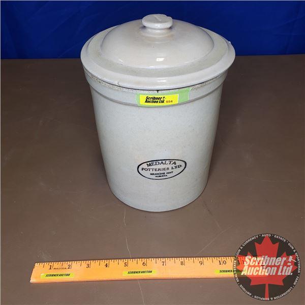 """1 Gallon Crock with Lid - Medalta Potteries Ltd. Medicine Hat (10-1/2""""H x 8"""" Dia)"""