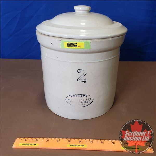 """2 Gallon Crock with Lid - Medalta (11""""H x 9-1/2"""" Dia)"""
