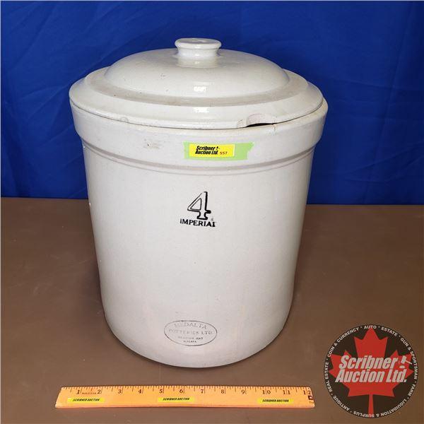 """4 Gallon Crock with Lid - Medalta (15-1/2""""H x 12"""" Dia)"""